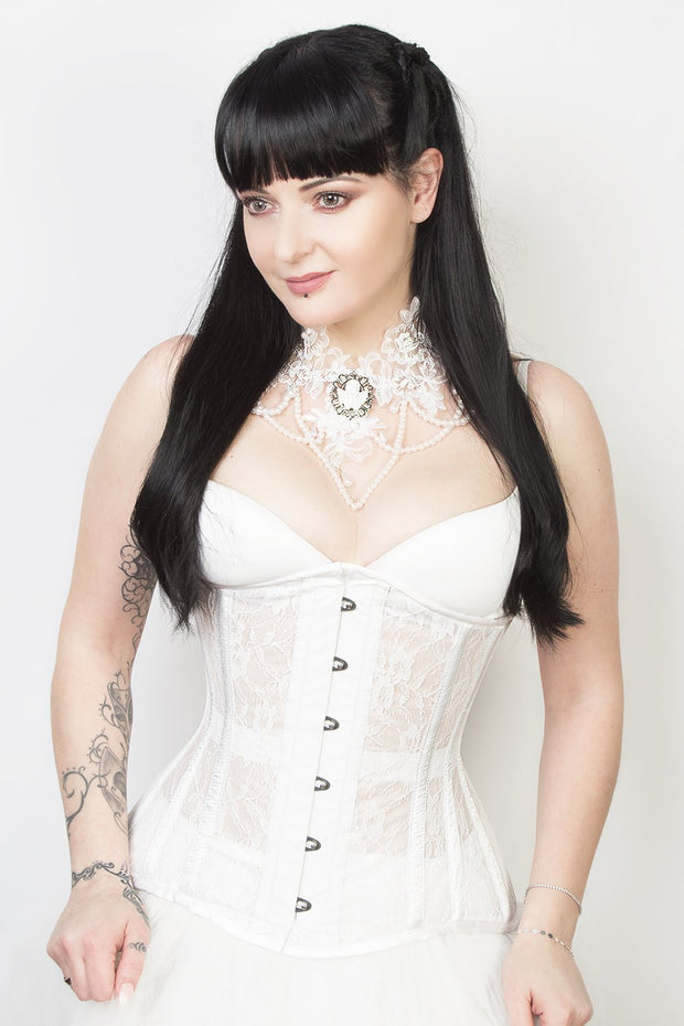 Kinsley Underbust White Mesh with Lace Long Corset