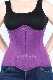 Long Underbust Purple Taffeta Corset