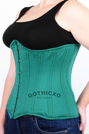 Underbust Plus Size Green Taffeta Long Corset