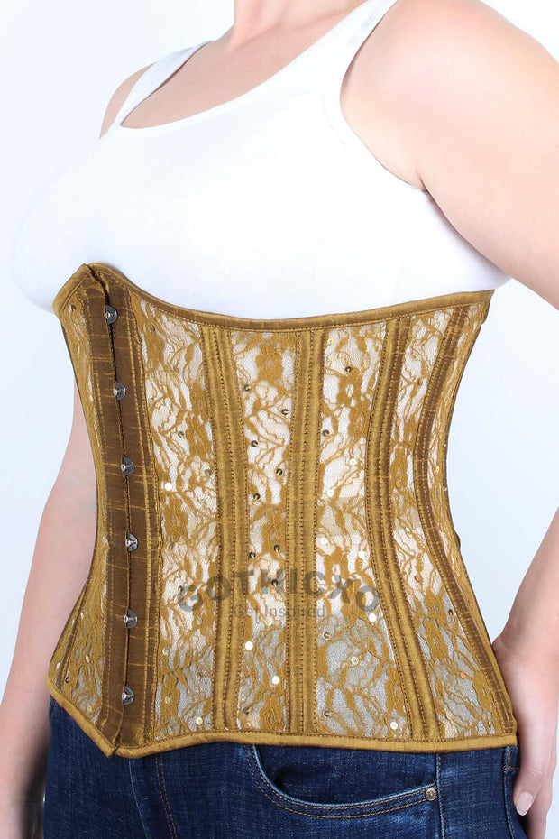 Underbust Plus Size Gold Mesh with Sequin Lace Corset