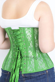 Green Mesh with Lace Long Underbust Corset
