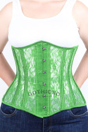 Plus Size Green Mesh with Lace Long Underbust Corset