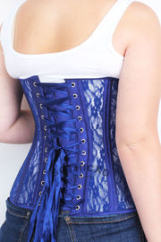 Blue Mesh with Lace  Custom Made Long Underbust Corset