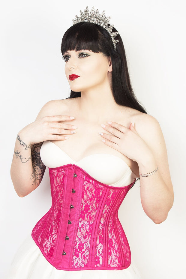 Underbust Custom Made Fuchsia Mesh with Lace Long Corset