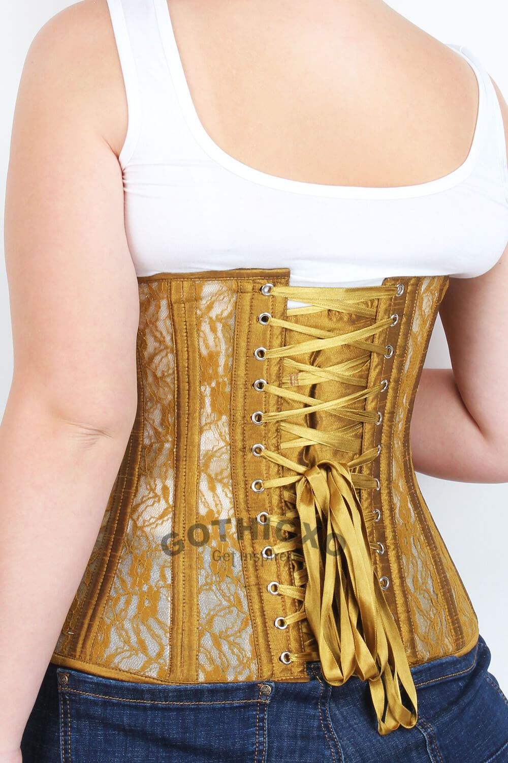 87f59bc48 Plus Size Gold Mesh with Lace Underbust Long Corset. Size Charts. Waist  Training Corset Size Guide