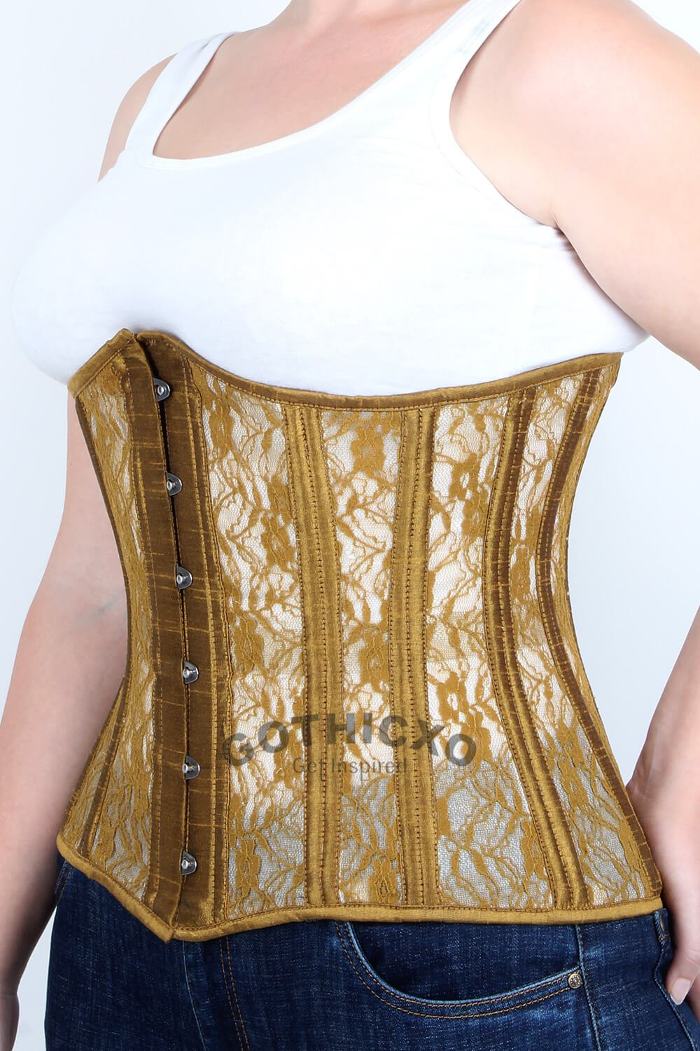 24cdf1e10 Plus Size Gold Mesh with Lace Underbust Long Corset. Size Charts. Waist  Training ...