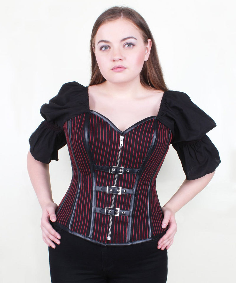 Adleigh Cotton Red Stripe Overbust Corset