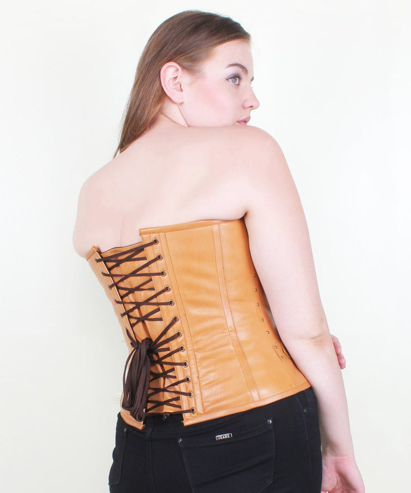 Jazmyn Steampunk Leather Overbust Corset with Clasp Opening