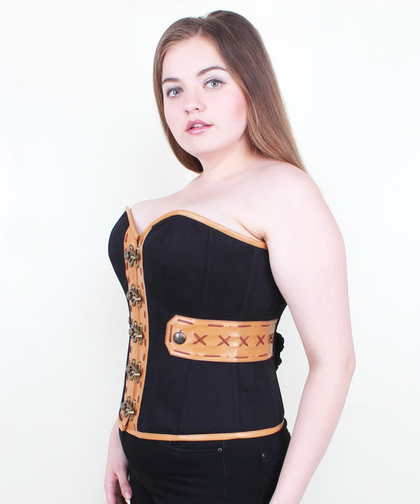 Kaci Clasp Opening Overbust Corset in Cotton & Leather