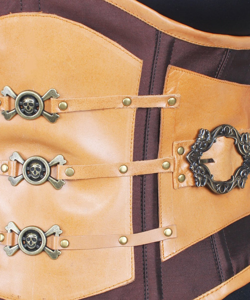 Colbie Taffeta & Leather Steampunk Underbust Corset
