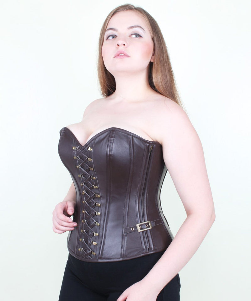 Camellia Leather Steampunk Overbust Corset