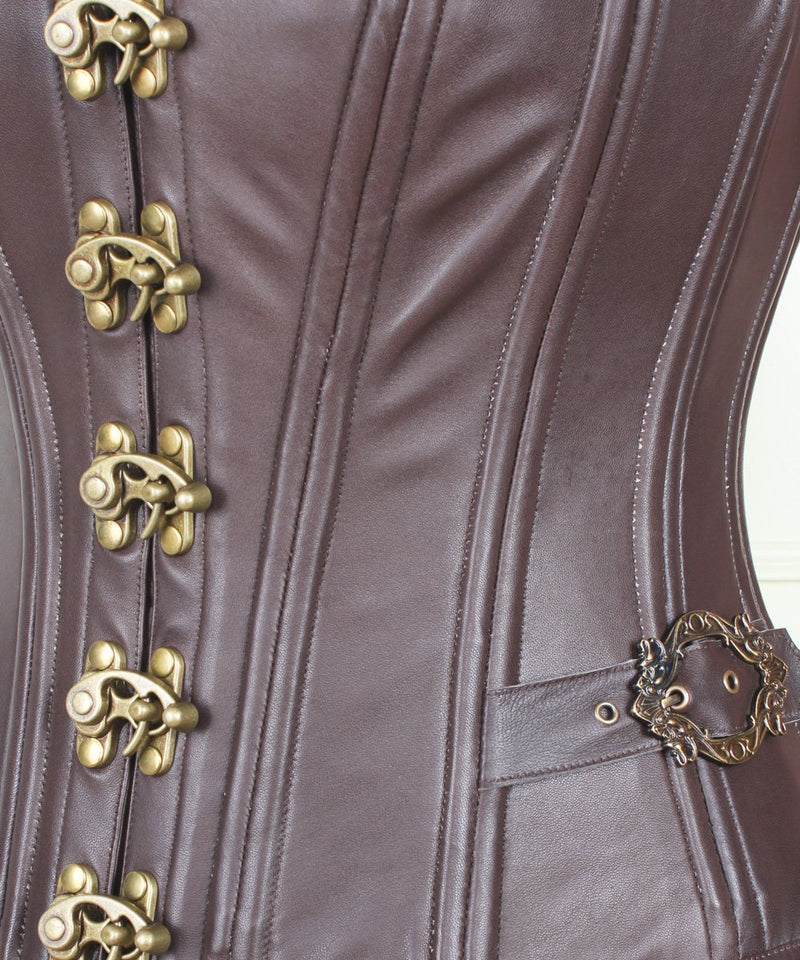 Niyah Steampunk Leather Overbust Corset