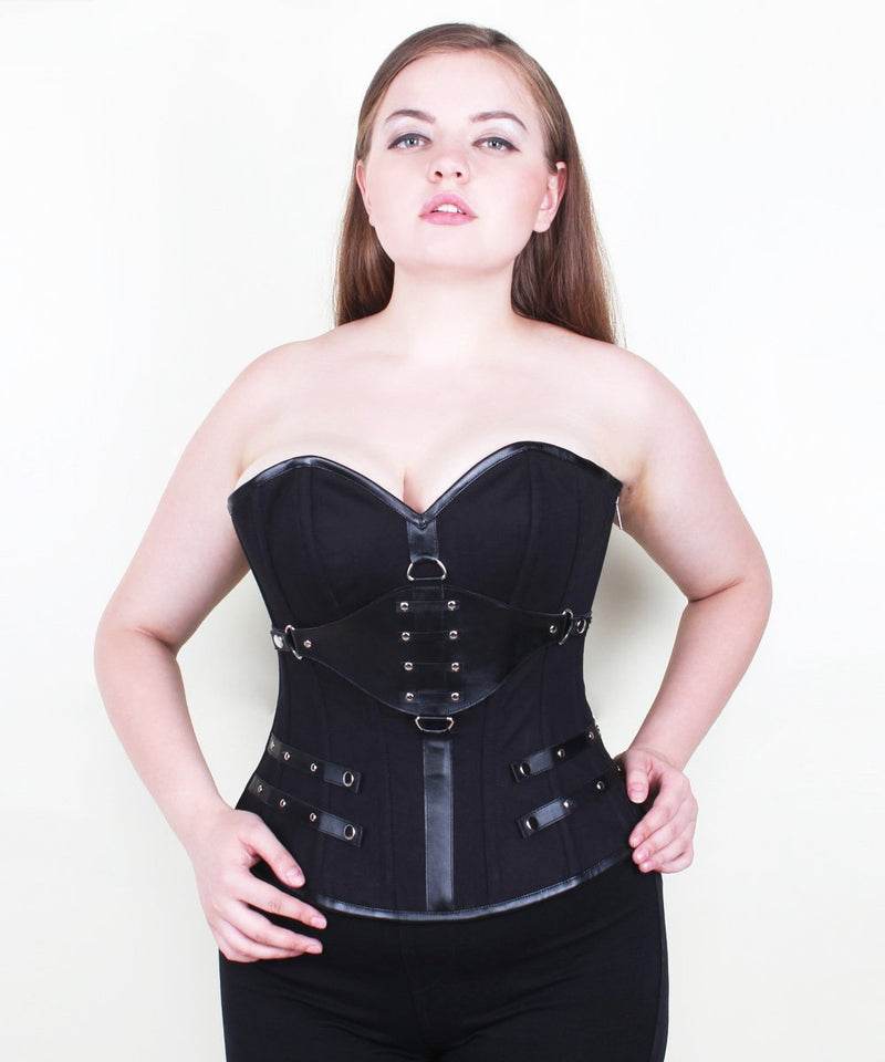 Meher Black Gothic Overbust Cotton Corset