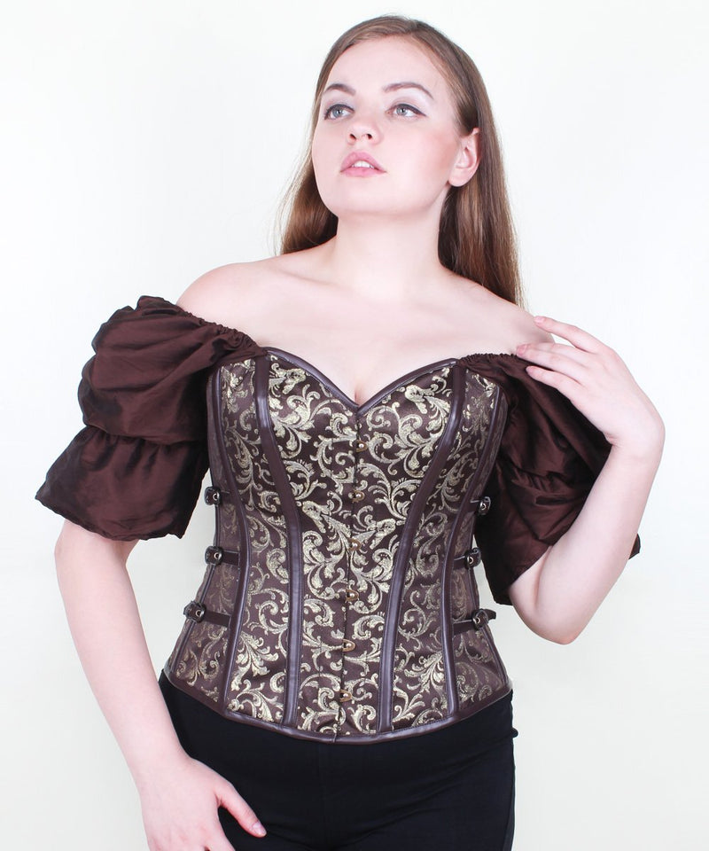 Austin Steampunk Brocade Overbust Corset with Attached Sleeve