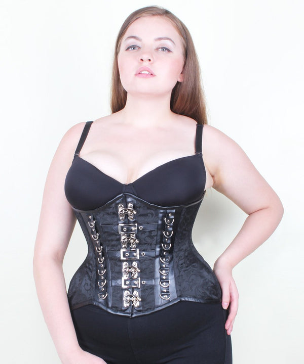 Carli Black Gothic Brocade Curvy Corset with Metal Clasp Opening