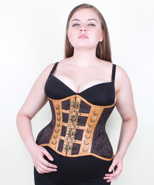 Kaleah Steampunk Brocade & Leather Curvy Corset