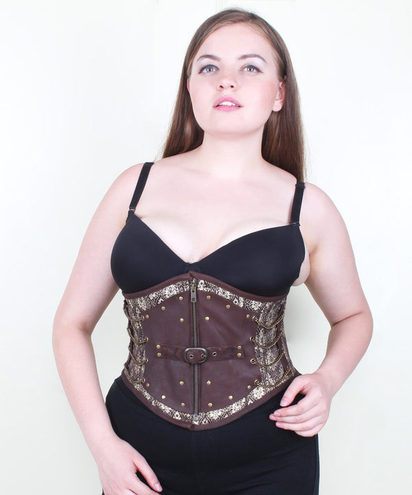 Lillith Steampunk Brocade & Leather Underbust Corset