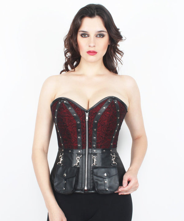 Rosaleigh Cotton Lined Brocade Gothic Overbust Corset