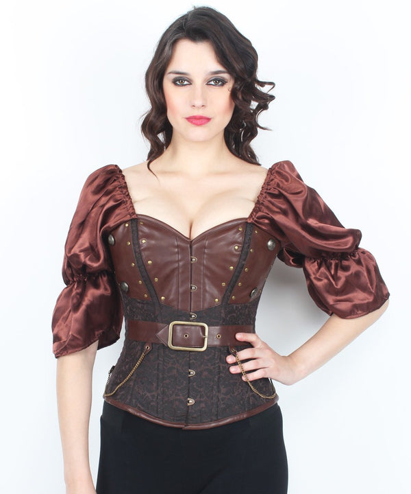 Azra Brocade Cotton Lined Steampunk Overbust Corset