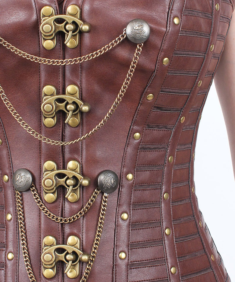 Dayana Steampunk Overbust Corset with Metal Clasp Opening