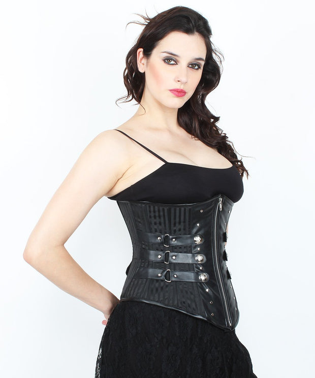 SOLD OUT - Abriella Gothic Underbust Black Brocade Corset