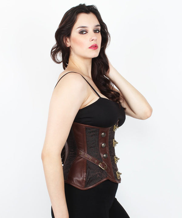 Audree Steampunk Brocade Curvy Corset with Metal Clasp Opening