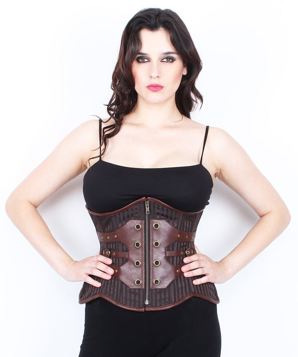 Caliyah Steampunk Cotton Lined Brocade Curvy Corset