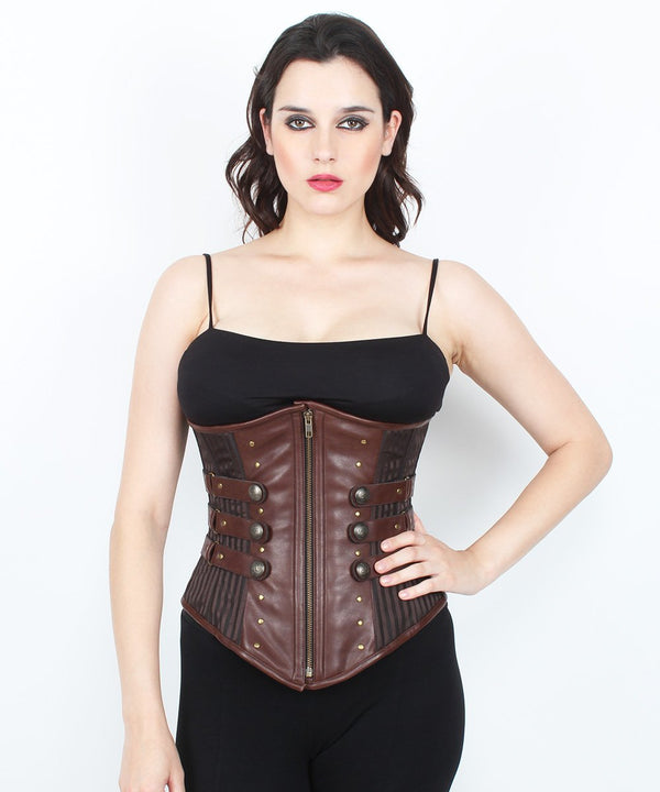 Chasity Steampunk Underbust Brown Brocade Corset
