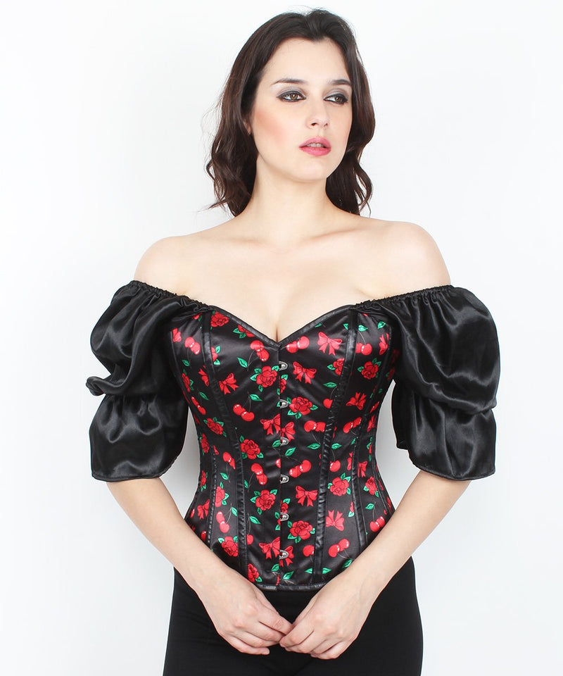 Ghalia Cherry Print Cotton Lined Overbust Corset