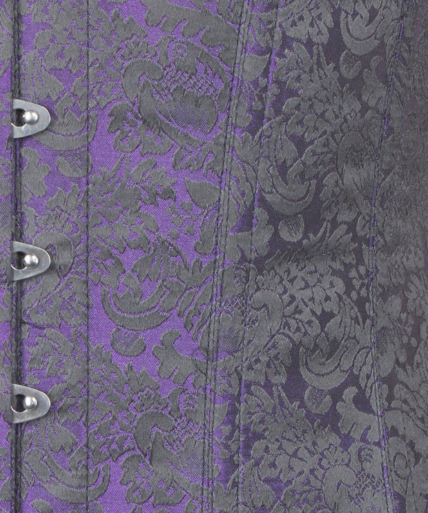 SOLD OUT - Baylor Purple Brocade Underbust Corset