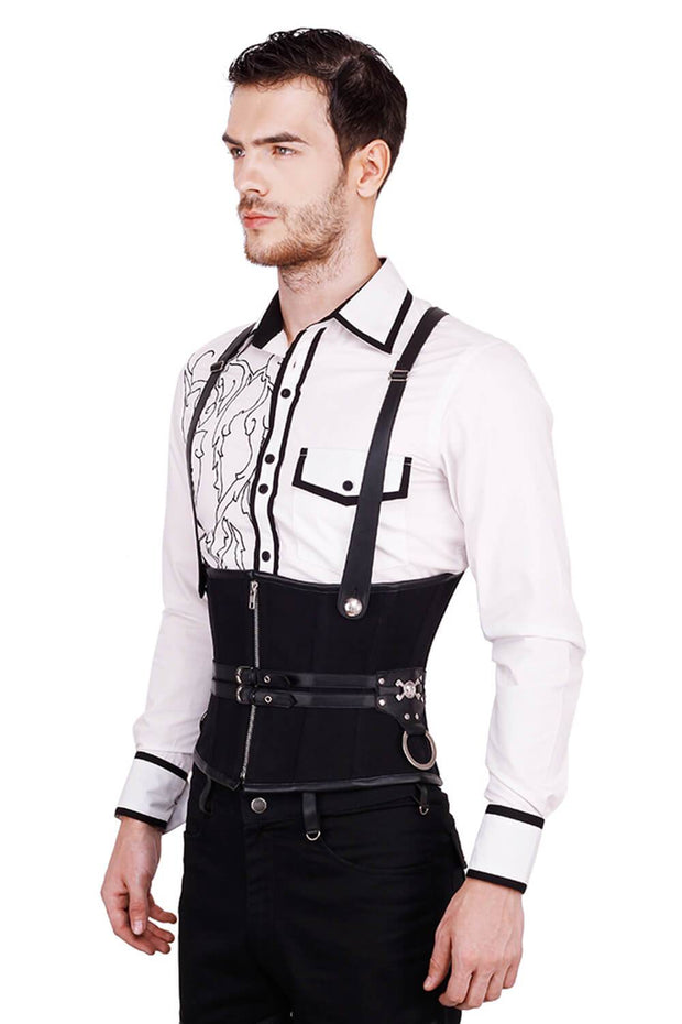 Draven Gothic Black Cotton Men's Corset