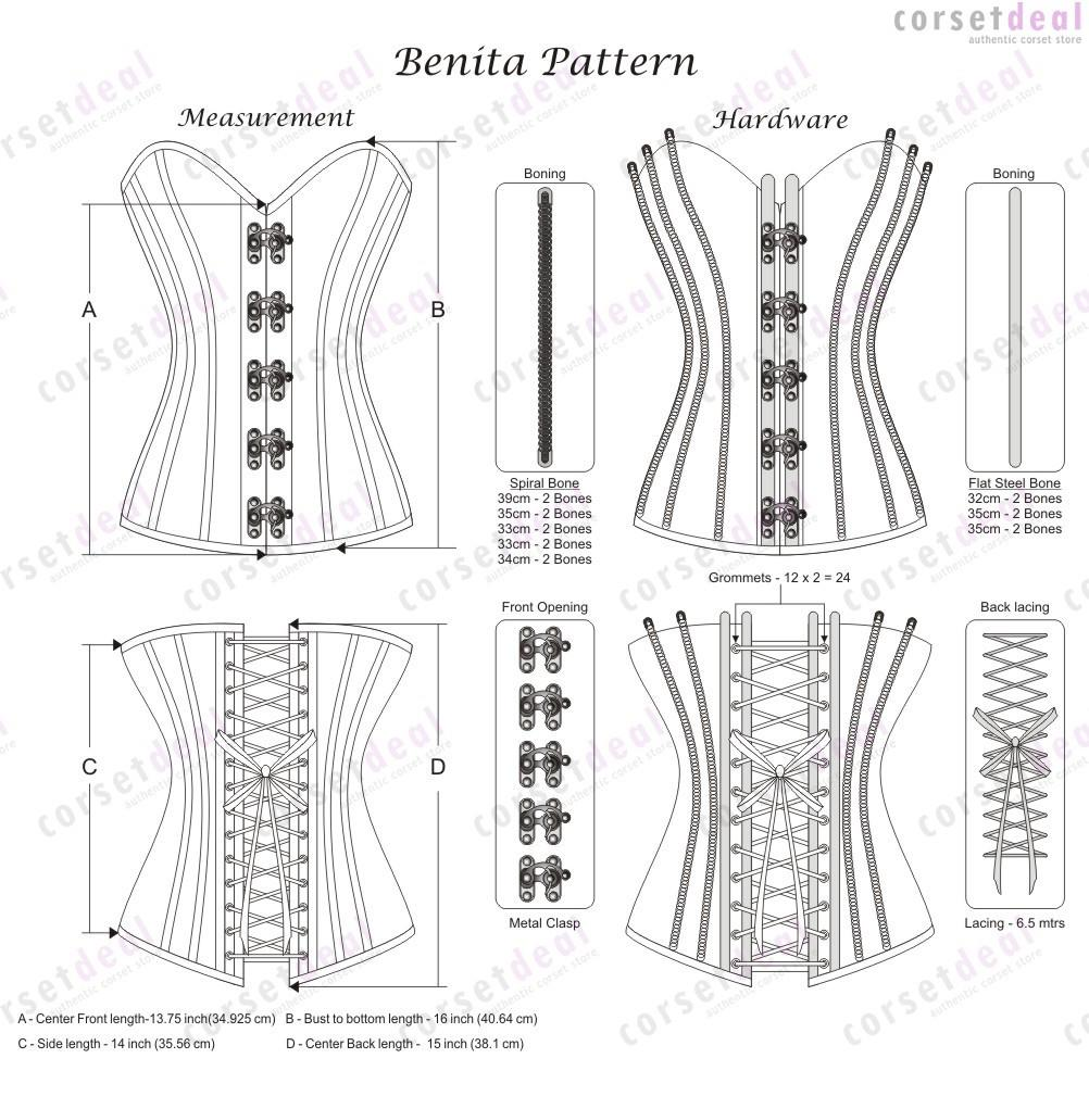 Farin Genuine Sheep Napa Leather Overbust Corsets