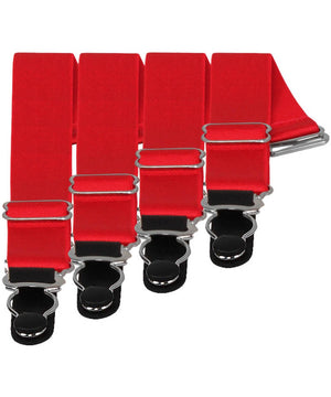4 x Steel Suspender Clips in Red