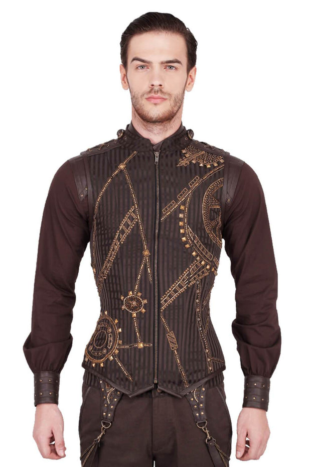 Detlev Steampunk Embroidered Men's Corset