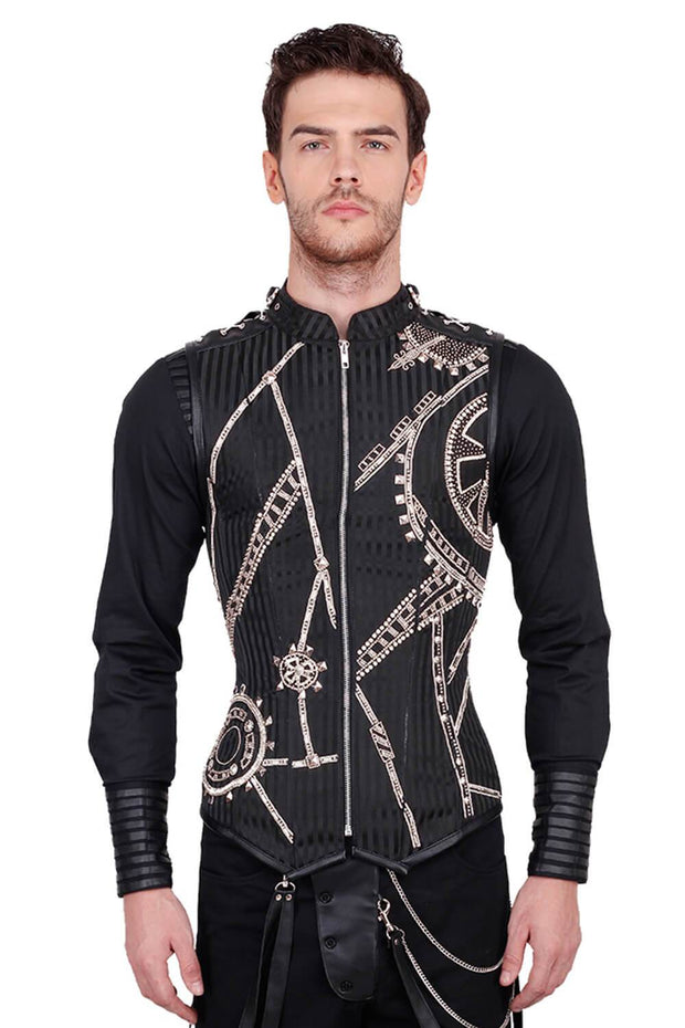 Dirk Steampunk Embroidered Black Men's Corset