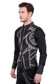 Dirk Custom Made Steampunk Embroidered Black Men's Corset