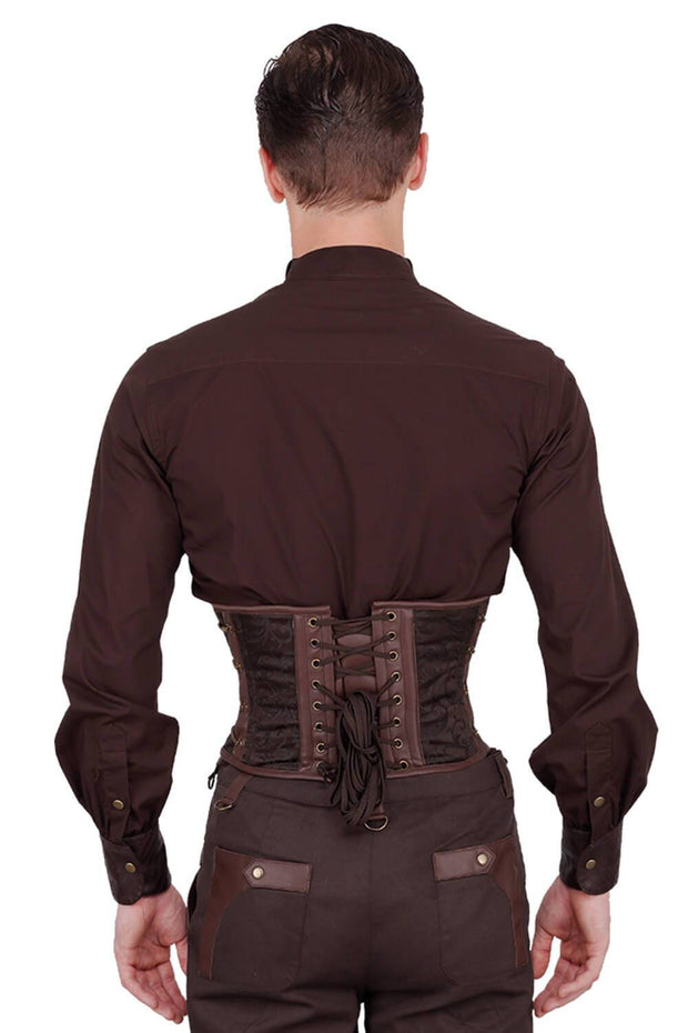 Eck Steampunk Brown Brocade Men's Corset
