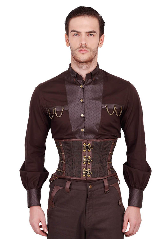 Eck Custom Made Steampunk Brown Brocade Men's Corset
