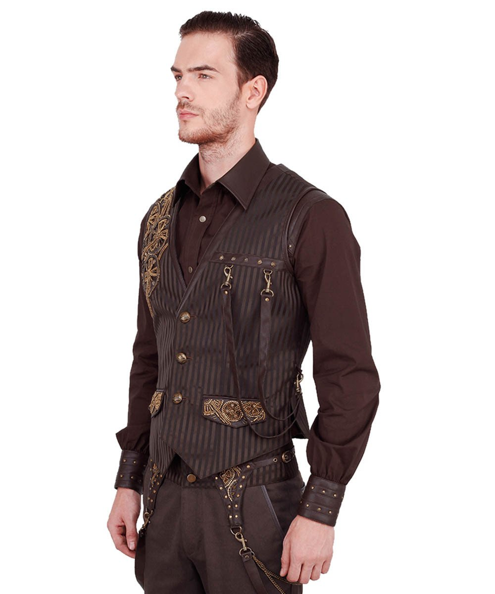 Keifer Steampunk Embroidered Men's Waist Coat