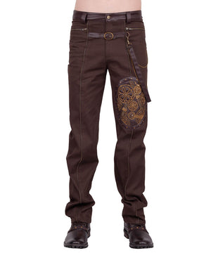 Erchanbold Cotton Steampunk Men's Trouser