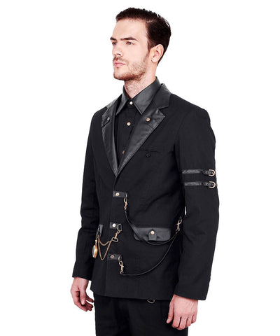 Hahn Steampunk Cotton Single Breasted Men's Jacket