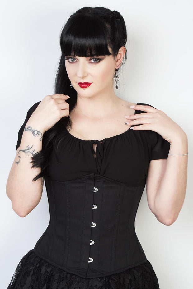 Sable Black Cotton Underbust Corset