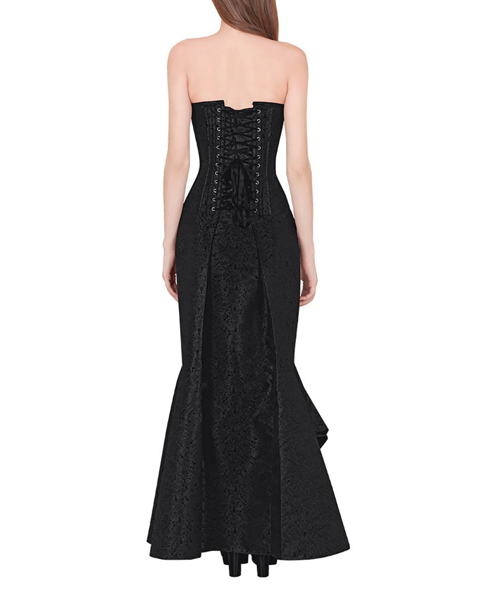 Vinata Gothic Black Cascaded Ruffle Corset Dress