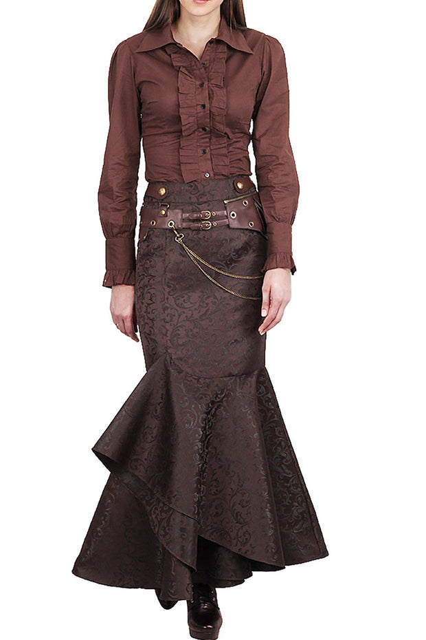 Haleema Long Ruffled Steampunk Skirt