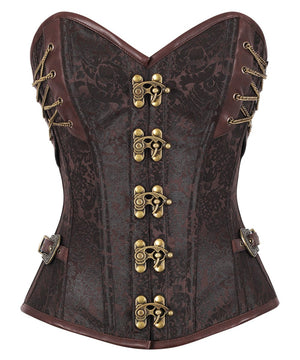 Achaia Brown Brocade Steampunk Overbust Corset