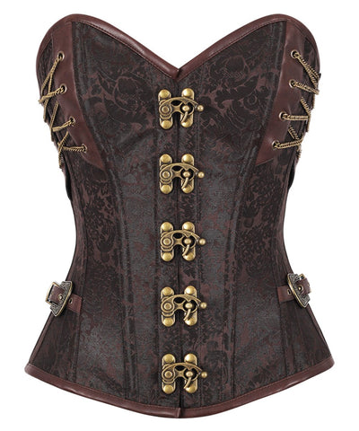 Vintage Goth Achaia Brown Brocade Steampunk Overbust Corset - VG LONDON LTD Corsets and Bustiers Shop