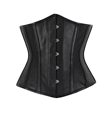Vintage Goth Carletta Genuine Sheep Napa Leather Underbust Corset - VG LONDON LTD Corsets and Bustiers Shop