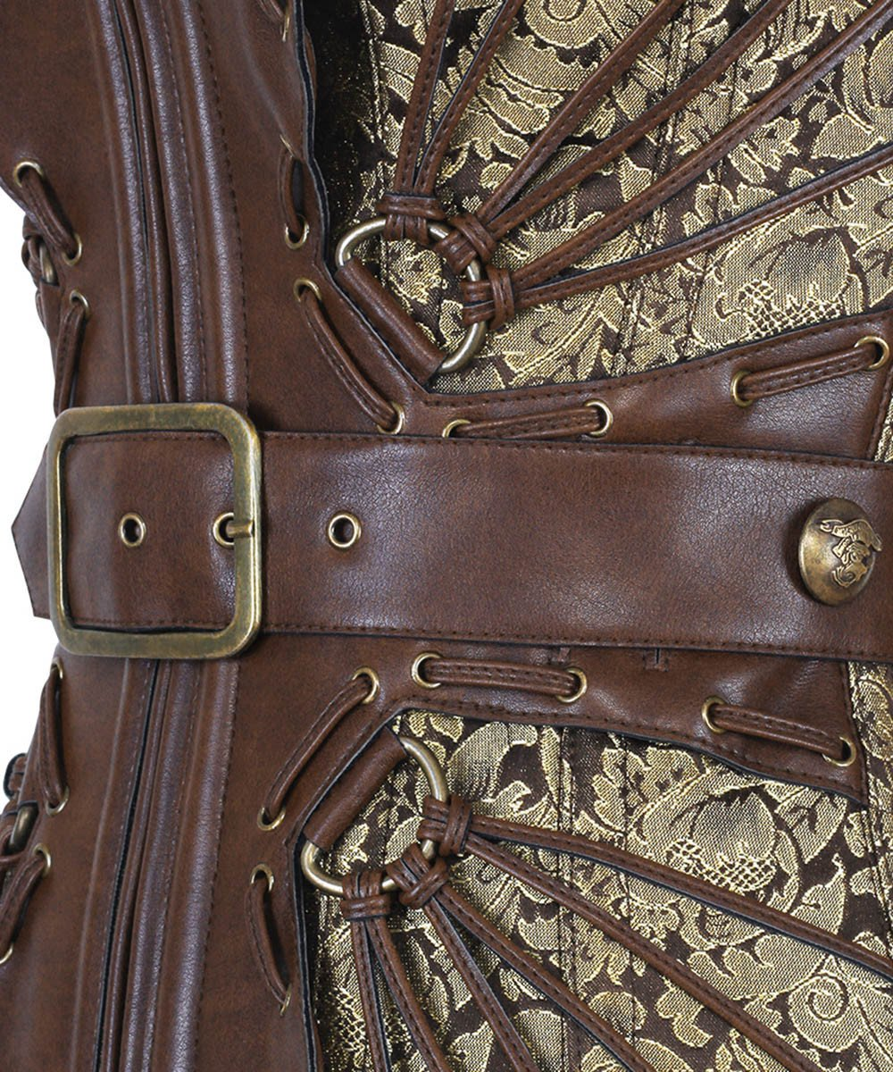 Daryn Gold Steampunk Buckle Corset
