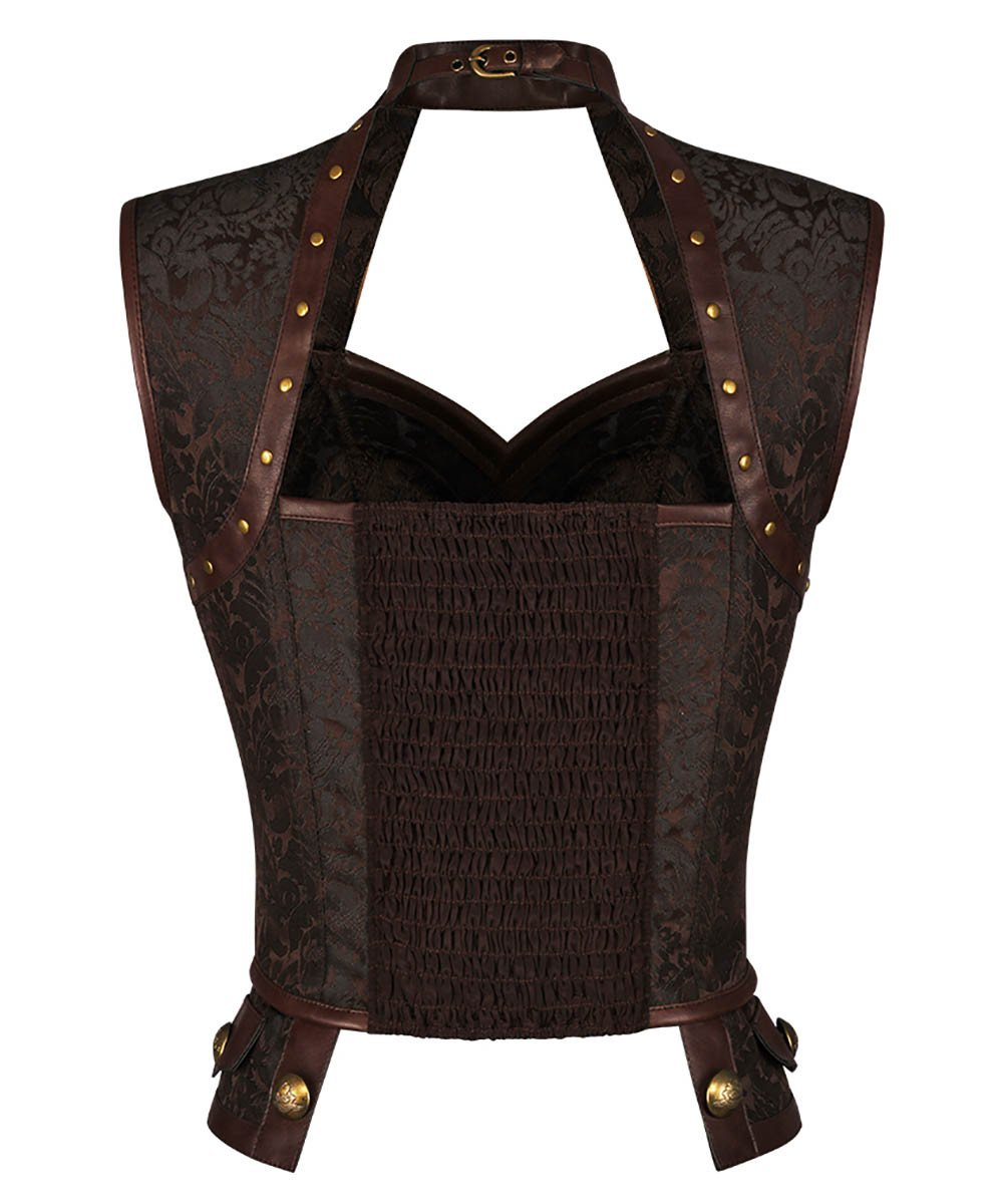 Elethia Steampunk Brown Halter Neck Corset Top