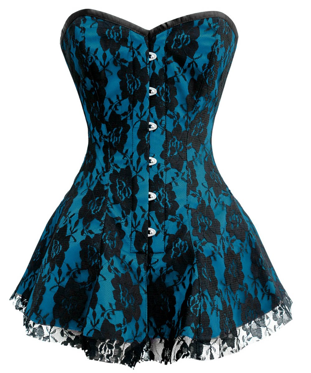 Mindy Overbust Lace Overlay Corset Dresses